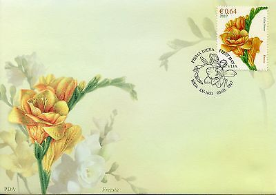 Latvia 2017 FDC Flowers Freesia Freesias 1v Set Cover Flora Nature Stamps