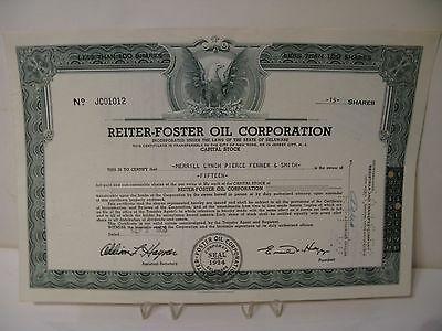 The Reiter-Foster Oil Corporation Shares of Stock 1958