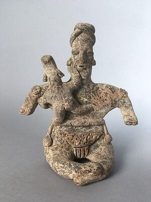 Precolumbian Colima Figure Mother Or Father And Child Rare  Museum Exhibited
