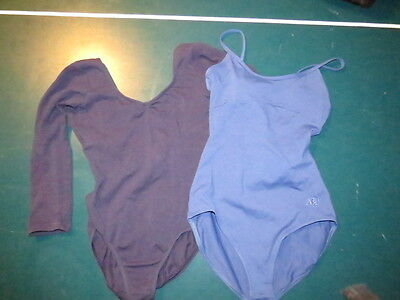 Leotard Bloch Navy 3/4 Sleeve And Abt Camisole Twist Back Adult S To M Lot Of 2