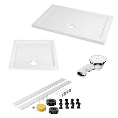 Stone Resin Rectangle Square Shower Tray Easy Plumb Riser Kit Free Waste Trap