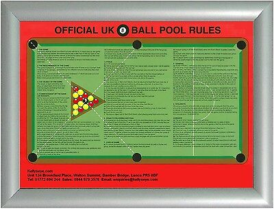 Framed Official Pool Game Rules Poster Snap Frame Uk British 8 Ball League Sign