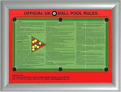 Official Pool Game Rules Poster In Aluminium Snap Frame Uk British 8 Ball League