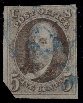 US #1 5¢ brown, used w/blue cancel, clipped at LL corner, Scott $400.00