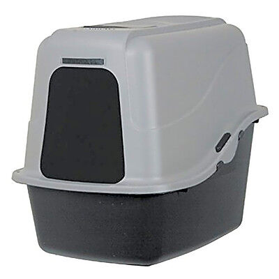 Extra Large Cat Litter Box Hooded Pan Enclosed Jumbo Covered Kitty House Gray