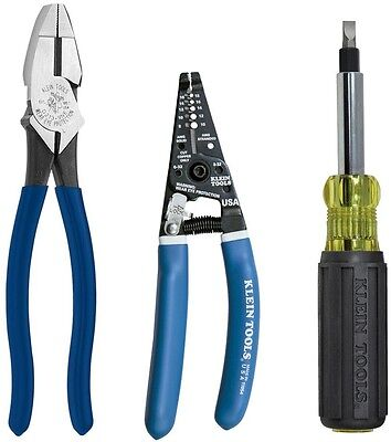 Klein Tools 3-Piece Electrician's Tool Kit Pliers Wire Stripper Screwdriver Set