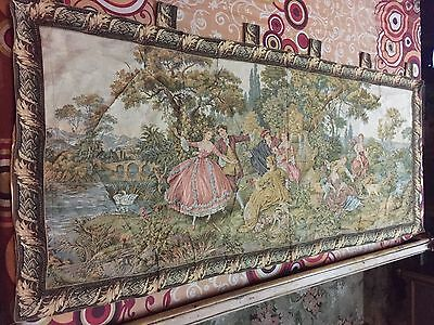 Vintage French Tapestry, Love Scene, Chateau   84 By 178 Cm