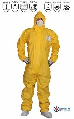 BIO SHIELD  COVERALLS, 90gsm SMS+ PE COVERALL TYPE3 for Chemical handling, 1 pc