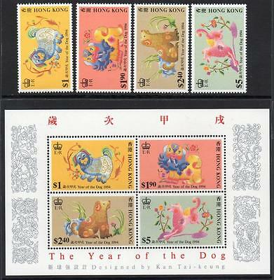 HONG KONG MNH 1994 Year of the Dog Stamps and Minisheet
