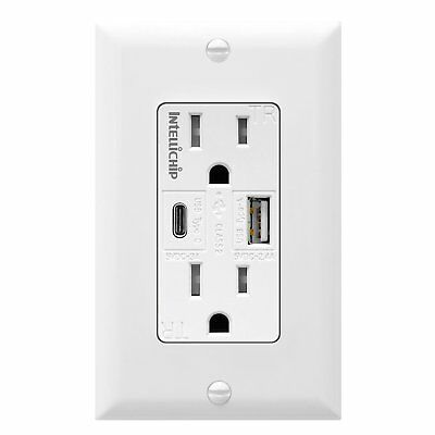 Topgreener USB C Fast Charger Wall Outlet 15A Tamper Resistant Electrical Outlet