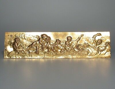 Antique French Gilded Bronze Furniture Decoration, Bas-Relief, Musicians Angels