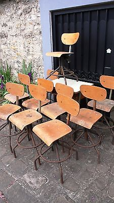 Murniture Business 13 Chairs Industrial Metal Wood on stand Factory Workshop 50