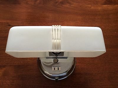 Art Deco  Wall Sconce  Light Fixture With Shade In Glass