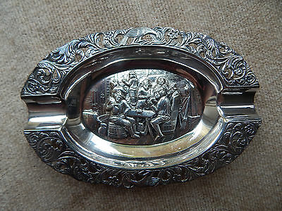 Rare Vintage Silver Plate Ashtray Card / Gambling Scene Repousse