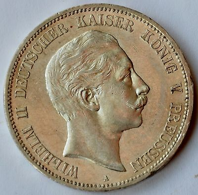 5 Mark 1907 A German States Prussia Silver Coin Germany Wilhelm II