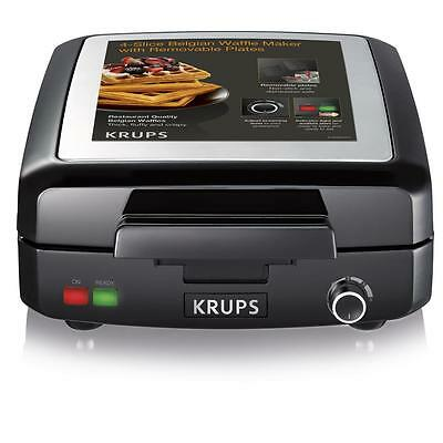 Krups Belgian Non-Stick Kitchen Electric Cooking Breakfast Waffle Iron Maker New