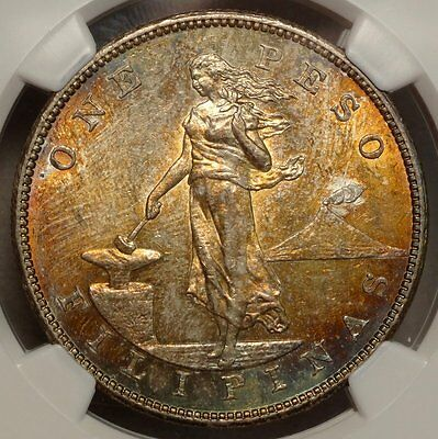 U. S. Philippines Peso 1903-S, Choice Uncirculated NGC MS-62, GREAT Color, Wow!