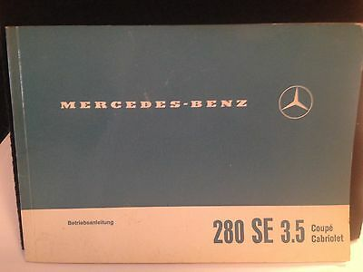 vintage automotive owners manual f. Mercedes 280SE 3.5 Coupe/Cabriolet in German