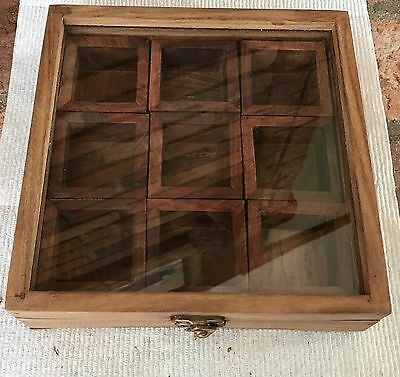 Hinged Lidded-With Glass-Wooden Box With 9 Interior Wooden Boxes