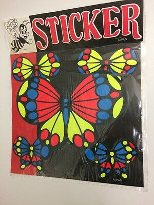 Vintage 1970s Set Of 5 Sticky Wickeds Butterfly Stickers Made In Japan Unopened