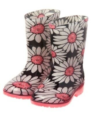 GYMBOREE KITTY IN PINK BLACK w// WHITE /& PINK DAISY RAIN BOOT 10 NWT