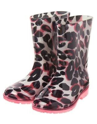 Gymboree Kitty In Pink Black, White & Pink Leopard Rain Boots 10 12 13 1 2 3 Nwt