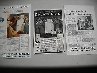1930's General Electric Appliance Advertisements  Lot of 3