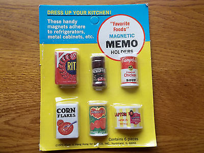 "New Vintage 1979 Rare Collectible 1/2"" Name Brand Food Refrigerator Magnets"