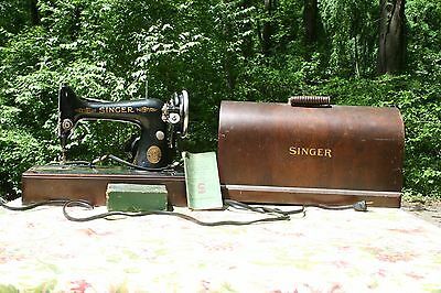 Antique Singer Sewing Machine Model No. 99-13 W/ Case As-Is Extra Parts Included