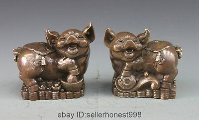 Chinese Bronze Copper Lucky Feng Shui Zodiac Yuanbao Coin Wealth Pig Pair