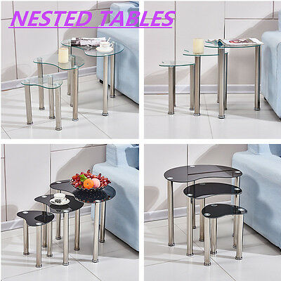 Oval Glass Nest of 3 Coffee Tables Side End Lamp Nested Tables with Chrome Legs