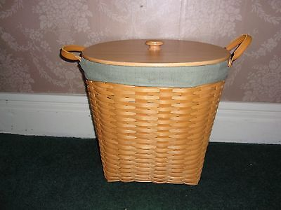 Longaberger 2001 Large Oval Waste Basket Set with WoodCrafts Lid - Sage