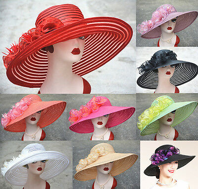 Women Occasional Wedding Royal Ascot Ladies' Day Wide Brim Sun Floppy Hat A366