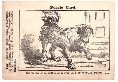 1880 Puzzle Trade Card Dr. Seth Arnold's Balsam How A Child is Cured Dog