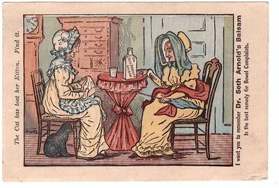 1880 Puzzle Trade Card Dr. Seth Arnold's Balsam Comic