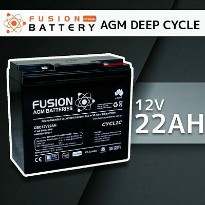 12V 22AH Fusion AGM Deep Cycle AGM Golf Cart Buggy Camping Scooter Solar Battery