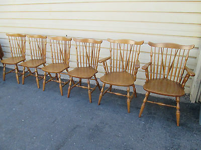 57425 Set of 6 Solid maple B P JOHN Furniture Windsor Dining Chair s Chairs