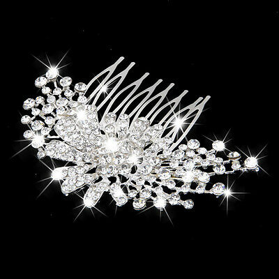 Wedding Bridal Shiny Rhinestone Floral Hair Comb Slide Hair Pin Hair Accessories