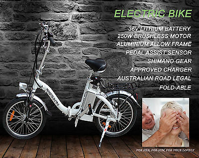 "Foldable E-Bike 250W 36V 20"" Electric Bicycle Ebike Cycling Lithium Battery 2017"