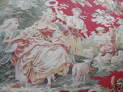 "Antique French Fabric French Textile Cretonne Fabric Country Scenes 31""/ 44"""