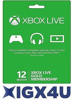 Xbox LIVE 12 Month Gold Membership For Microsoft Xbox One Xbox 360 FAST UK/WW