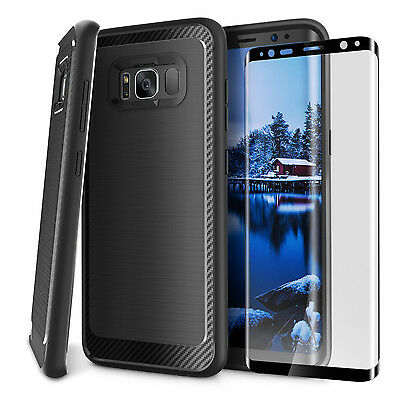 For Samsung Galaxy S8/S8 Plus Case Cover Tempered Glass Shokcproof Hybrid Back