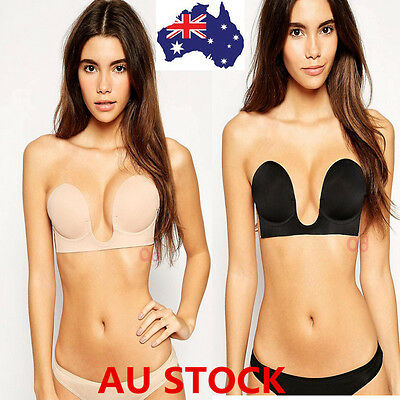 AU Silicone Adhesive Invisible Bra Push-up Strapless Stick On Bra Pad A-D Cup