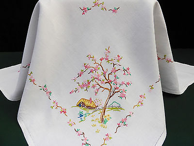 Vintage Linen Square Tablecloth~Hand Embroidered Cottage Garden~Apple Blossoms