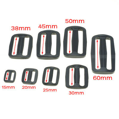 Plastic Slider Tri-Glide Adjust Buckles Backpack Straps Webbing 15mm~50mm Black