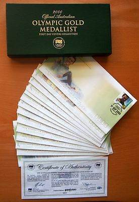 2000 Official Australian Olympic Gold Medallist First Day Cover Collection - Coa