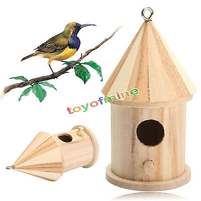 Wooden Bird House Ornament Nesting Box for Small Wild Garden Birds Hanging Decor