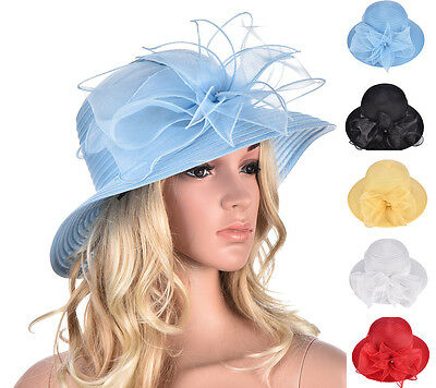 Women Dress Wedding Royal Ascot Ladies' Day Tea Party Organza Sun Hat KA323