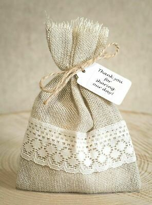 Shabby Chic 1-100 Rustic Hessian & Lace Vintage Wedding Favour Bags Personalised