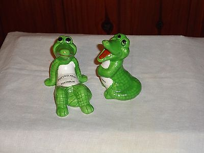 Vintage  Novelty Crocodiles Kitsch Salt + Pepper Shakers Souvenir Queensland